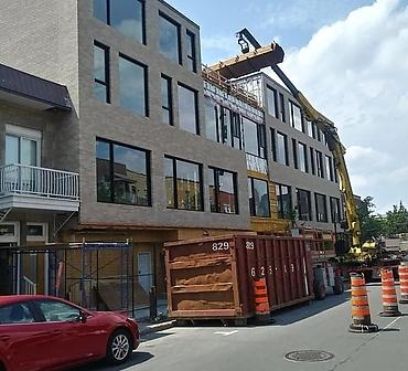 Installation de brique Bowerstone Shales Compagny a Montreal - Pose de briques construction neuve. Travaux de maçonnerie effectués à Montréal