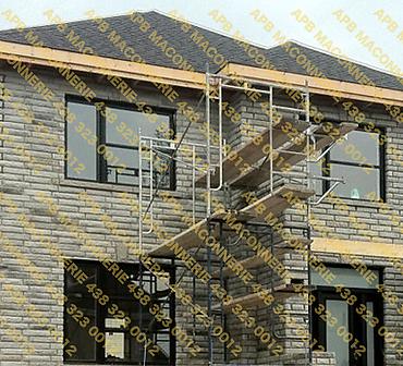 Projet de briquetage maconnerie construction neuve maison unifamiliale - Pose de pierre sur les 4 cotes de la maison Lieu Ville de Longueuil Rive sud de Montreal