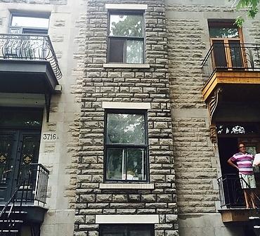Reparation et restauration facade pierre St Marc Montreal - Pierre calcaire gris, pierre de Montréal, récuperation de la pierre a 100%