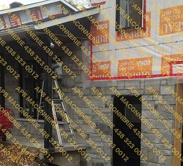 Projet de briquetage maconnerie remise a neuf reparation 2 - Remise a neuf reparation de facade maison unifamiliale Pose de pierre de type moderne et pose d alleges Lieu Ville de Sainte Julie rive sud de Montreal