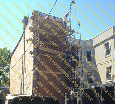 Installation et reparation de brique rouge format Quebec - Installation allege de fenetre Lieu Ville de Montreal arrondissement Hochelaga Maisonneuve