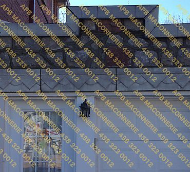 Projet reparation de pierres naturelles - Enlever la pierre et la reinstaller reparation des linteaux reparation de joints de pierre taques Lieu Montreal arrondissement Ville St Laurent
