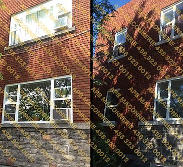 Projet de briquetage maconnerie reparation et restauration d alleges - Gratter retirer le vieux mortier friable a l aide de rectifieuse remplissage des joints concaves avec nouveau mortier type 116 Lieu Ville de Saint Lambert arrondissement Long