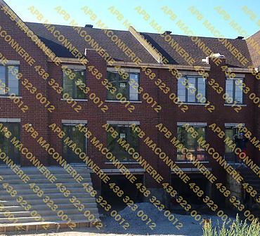 Projet de maconnerie construction neuve unite 8 condos - Projet de briquetage maçonnerie construction neuve unité 8 condos, Pose de brique en argile type Hanson, lintaux et allèges. Ville St-Laurent