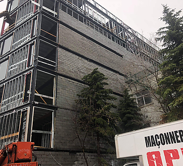 Construction mur en blocs de beton a Montreal - Installation de blocs de ciment, blocs de construction à Montréal, construction de mur de coupe-feu en blocs de béton, Plateau-Mont-Royal