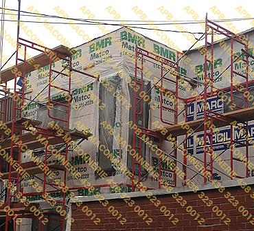 Projet de briquetage maconnerie construction neuve maison unifamiliale 2 - Installation de brique neuve Champlain format metrique Lieu Ville de Montreal arrondissement Plateau mont royal